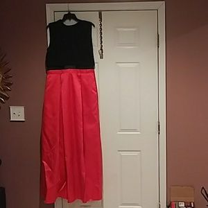 Red and black Betsy Adams formal dress